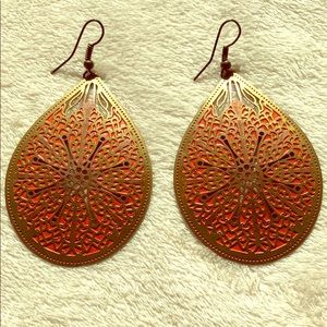 Boho style earrings. Bronze and burnt orange.